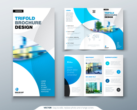 Tri fold brochure design with circle, corporate business template for tri fold flyer. Layout with modern photo and abstract circle background. Creative concept folded flyer or brochure. Vettoriali