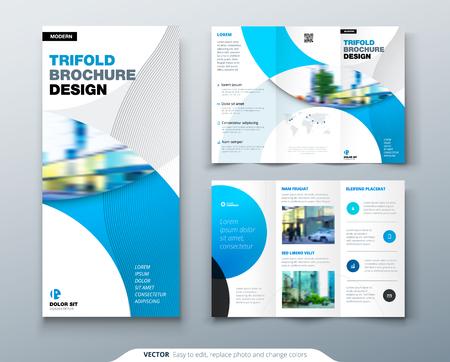 Projekt broszury składanej na trzy części z okręgiem, szablon biznesowy dla ulotki składanej na trzy części. Układ z nowoczesnym zdjęciem i abstrakcyjnym tłem koła. Koncepcja kreatywna składana ulotka lub broszura. Ilustracje wektorowe