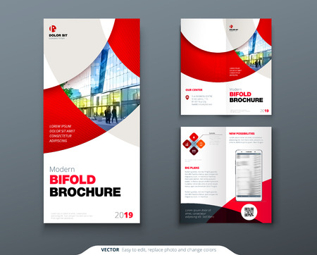 Bi fold brochure or flyer design with circle. Creative concept flyer or brochure