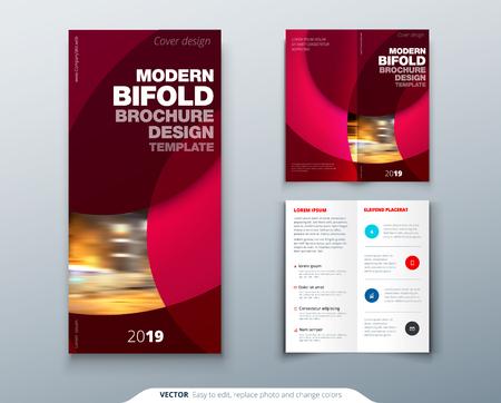 Bi fold brochure or flyer design with circle. Creative concept flyer or brochure