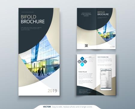 bi fold brochure or flyer design with circle creative concept
