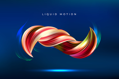Colorful geometric background. Fluid shapes composition, 3D abstract paint brush stroke. Color spiral wave. Eps10 vector.