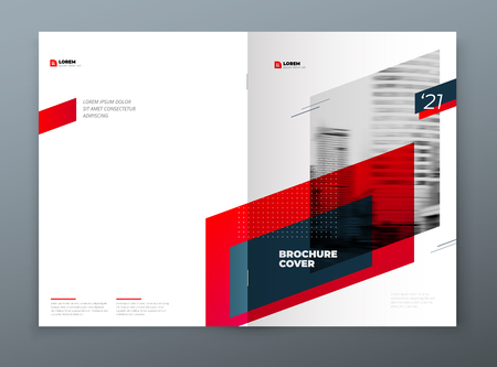 Brochure template layout design. Corporate business annual report, catalog, magazine, flyer mockup. Creative modern bright concept with red dynamic shape.