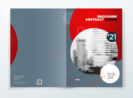 Brochure cover design. Blue corporate business rectangle cover template brochure, report, catalog, magazine. Modern cover layout circle shape abstract background. Creative cover vector concept. 矢量图像