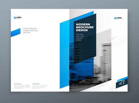 Brochure template layout design. Corporate business annual report, catalog, magazine, flyer mockup. Creative modern bright concept with blue dynamic shape.