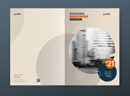 Brochure template layout design. Corporate business annual report, catalog, magazine, brochure, flyer mockup. Creative modern bright concept in memphis style.