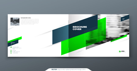 Landscape Brochure design. Green corporate business template brochure, report, catalog, magazine. Brochure layout modern with dynamic shape abstract background. Creative brochure vector concept.