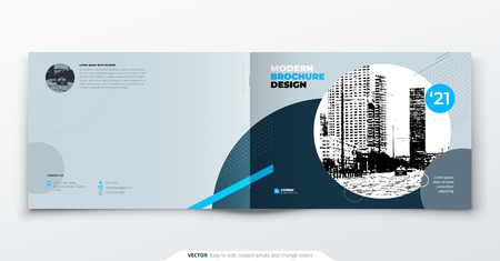 Landscape Brochure design. Blue grey corporate business template brochure, report, catalog, magazine. Brochure layout modern with dynamic shape abstract background. Creative brochure vector concept.