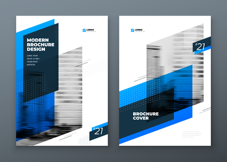 Landscape Brochure design. Blue corporate business template brochure, report, catalog, magazine. Brochure layout modern with dynamic shape abstract background. Creative brochure vector concept.
