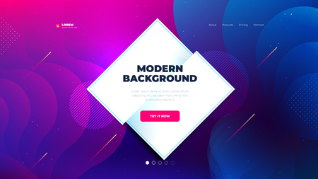 Liquid color background design for Landing page site. Fluid gradient shapes composition. Futuristic design posters. Eps10 vector