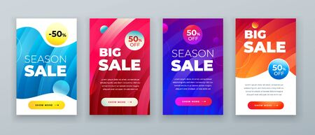 Set of dynamic modern fluid sale banner for social media stories, web page, mobile phone. Sale banner template design special offer set. Eps10 vector.