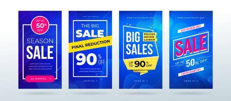 Set of dynamic modern fluid sale banner for social media stories, web page, mobile phone. Sale banner template design special offer set. Eps10 vector. 矢量图像