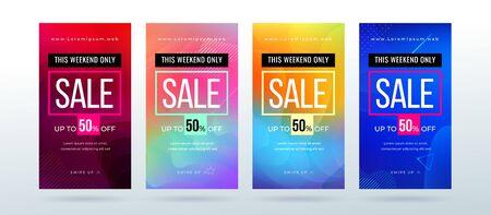 Set of dynamic modern fluid sale banner for social media stories, web page, mobile phone. Sale banner template design special offer set. Eps10 vector. Illustration