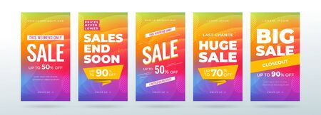 Set of dynamic modern fluid sale banners for social media stories, web page, mobile phone. Sale banner template design special offer set.