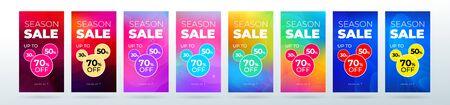 Set of dynamic modern fluid sale banners for social media stories sale, web page, mobile phone. Sale banner template design special offer set.
