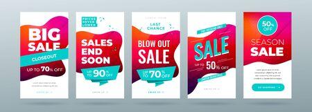 Set of dynamic modern fluid sale banner for social media stories, web page, mobile phone. Sale banner template design special offer set. Eps10 vector