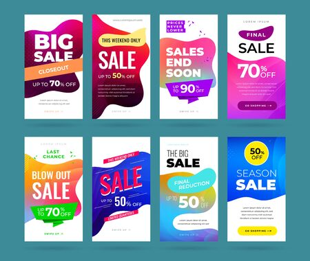 Set of sale banner for social media stories, web page, mobile phone. Sale banner template design special offer set.