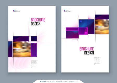 Layout-Design der Broschürenvorlage. Jahresbericht des Unternehmensgeschäfts, Katalog, Zeitschrift, Flyermodell. Kreatives modernes helles Konzept mit quadratischen Formen
