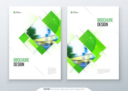 Green Brochure Cover Template Layout Design. Corporate business annual report, catalog, magazine, flyer mockup. Creative modern bright eco concept with square shape