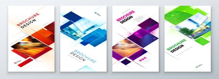 Set of Brochure Cover Template Layout Design. Corporate business annual report, catalog, magazine, flyer mockup. Creative modern bright concept with square shape