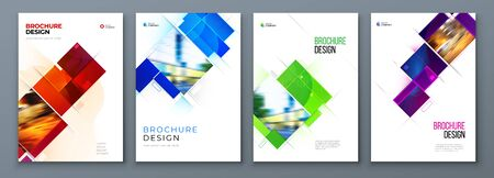 Set of Brochure Cover Template Layout Design. Corporate business annual report, catalog, magazine, flyer mockup. Creative modern bright concept with square shape. 矢量图像