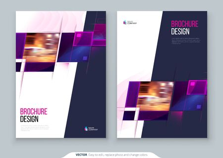 Purple Brochure Cover template layout design. Corporate business annual report, catalog, magazine, flyer mockup. Creative modern bright concept with square shapes 矢量图像
