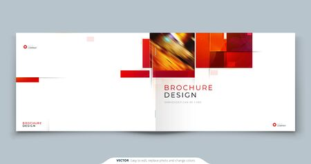 Horizontal Brochure template layout design. Landscape Corporate business annual report, catalog, magazine, flyer mockup. Creative modern bright concept with square shapes