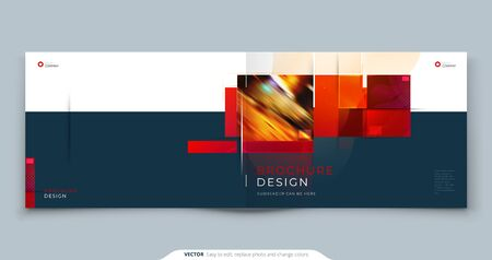 Horizontal Brochure template layout design. Landscape Corporate business annual report, catalog, magazine, flyer mockup. Creative modern bright concept with square shapes.