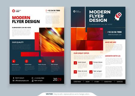 Red Flyer template layout design. Corporate business annual report, catalog, magazine, flyer mockup. Creative modern bright concept with square shapes