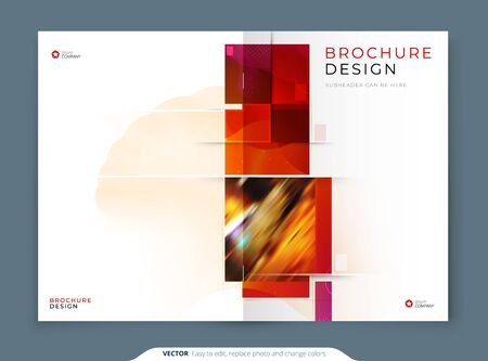 Catalog template layout design. Corporate business annual report, catalog, magazine, flyer mockup. Creative modern bright catalogue concept with square shapes
