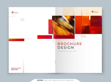 Annual Report template layout design. Corporate business annual report, catalog, magazine, flyer mockup. Creative modern Annual Report bright concept with square shapes