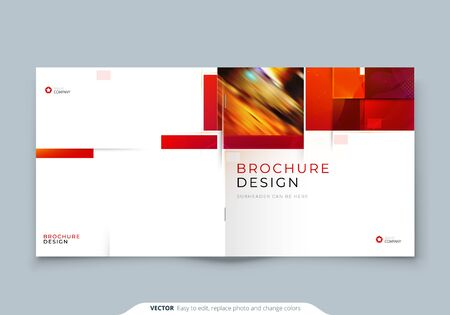 Square Brochure template layout design. Corporate business annual report, catalog, magazine, flyer mockup. Creative modern bright concept with square shapes 矢量图像