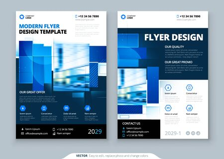 Progettazione del layout del modello di volantino blu. Volantino aziendale, brochure, relazione annuale, catalogo, rivista mockup. Concetto di volantino luminoso moderno creativo con forme quadrate Logo