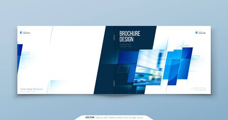 Blue Horizontal Brochure Cover Template Layout Design. Corporate Business Horizontal Brochure, Annual Report, Catalog, Magazine, Flyer Mockup. Creative Modern Brochure Concept with Square Shapes 向量圖像