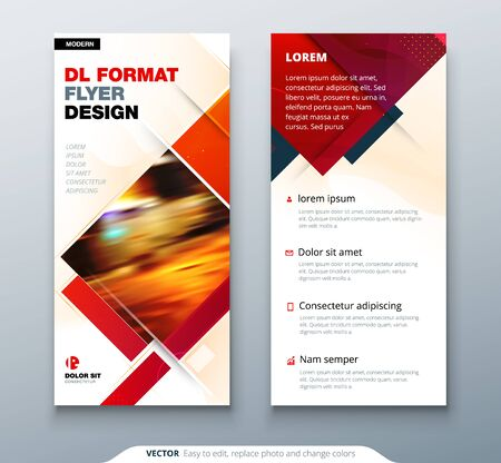 DL Flyer design with square shapes, corporate business template for dl flyer. Creative concept flyer or banner layout. 向量圖像
