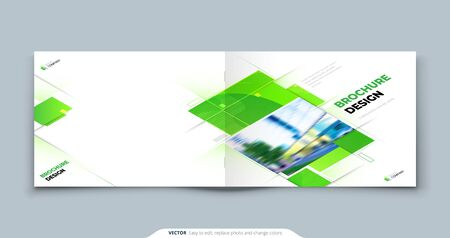 Green Horizontal Brochure Cover Template Layout Design. Landscape Corporate business Annual Report, Catalog or Magazine Mockup. Creative green modern bright eco concept with square shape