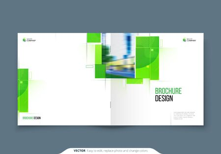 Green Square Brochure Cover Template Layout Design. Corporate business annual report, catalog, magazine, flyer mockup. Creative modern bright eco concept with square shape Çizim