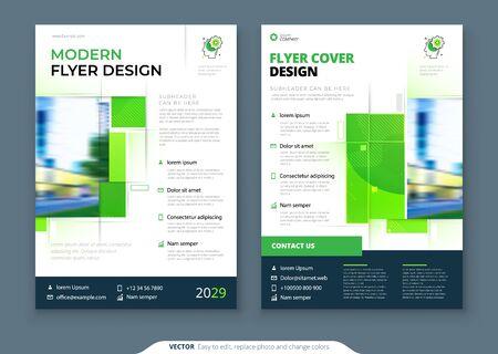 Progettazione del layout del modello di volantino verde. Relazione annuale aziendale, catalogo, rivista, mockup di volantini. Concetto di volantino ecologico moderno e creativo con forma quadrata