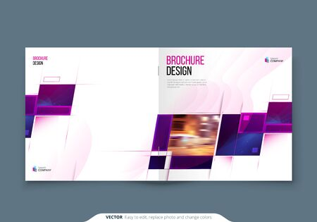 Purple Square Brochure Cover Template Layout Design. Corporate business annual report, catalog, magazine or flyer mockup. Creative modern bright concept with square shape 向量圖像