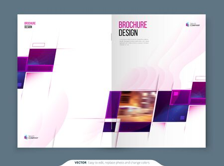 Purple Brochure Cover Template Layout. Corporate business Cover Design Mockup. Creative modern bright cover concept with purple square shapes