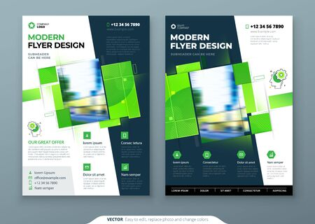 Green Flyer Template Layout Design. Corporate business annual report, catalog, magazine, flyer mockup. Creative modern bright eco flyer concept with square shape