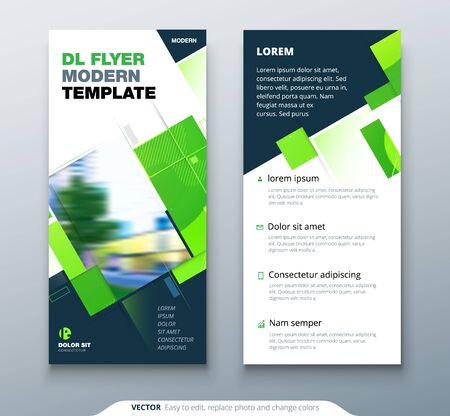 Dreen DL Flyer Design with Square Shapes. Corporate business template for dl flyer. Creative eco concept flyer or banner layout.