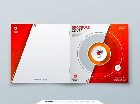 Square Cover template. Square Red template for brochure, banner, plackard, poster, report, catalog, magazine, flyer etc. Modern circle shape abstract background. Creative brochure vector concept