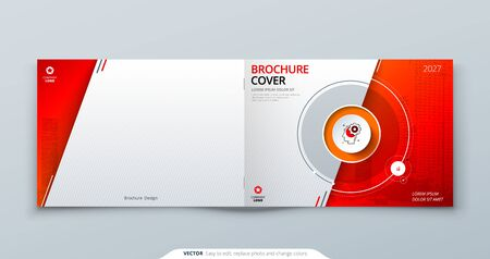 Horizontal Cover template. Horizontal Red template for brochure, banner, plackard, poster, report, catalog, magazine or flyer. Modern circle shape abstract background. Creative brochure vector concept