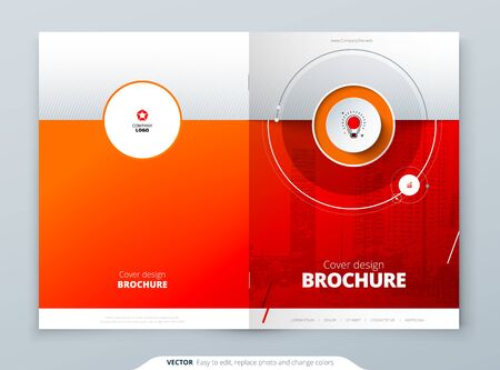 Cover template. Red template for brochure, banner, plackard, poster, report, catalog, magazine, flyer etc. Modern circle shape abstract background. Creative brochure vector concept