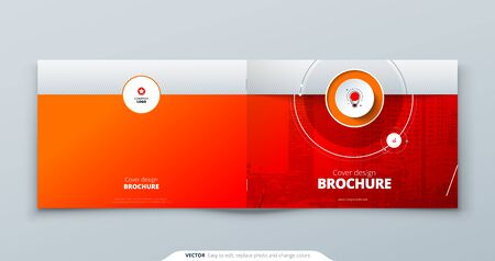 Landscape Cover template. Landscape Red template for brochure, banner, plackard, poster, report, catalog, magazine or flyer. Modern circle shape abstract background. Creative brochure vector concept