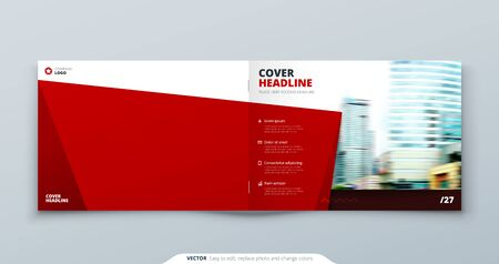 Landscape Cover template. Landscape Red template for brochure, banner, plackard, poster, report, catalog, magazine or flyer. Modern rectangle abstract background. Creative brochure vector concept 向量圖像