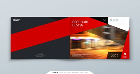 Horizontal Cover template. Horizontal Red template for brochure, banner, plackard, poster, report, catalog, magazine or flyer. Modern rectangle abstract background. Creative brochure vector concept 向量圖像