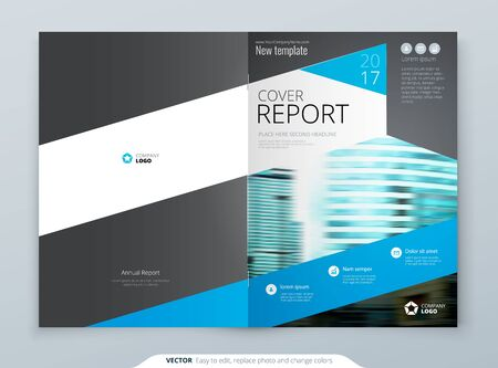 Blue Brochure Cover Template Layout Design. Corporate Business Brochure, Annual Report, Catalog, Magazine, Flyer Mockup. Creative Modern Bright Brochure Concept with Square Shapes.