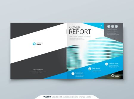Blue Square Brochure Cover Template Layout Design. Corporate Business Horizontal Brochure, Annual Report, Catalog, Magazine, Flyer Mockup